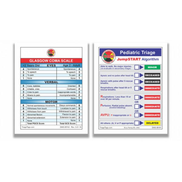 Glasgow Coma Scale/JumpSTART Pediatric Cards