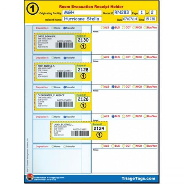 Evac123® Room Evacuation Step 1 Receipt Holder Refill Pack (SNF)