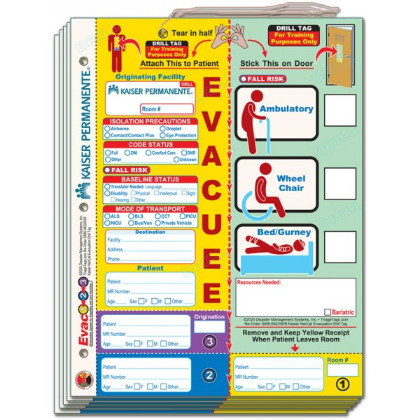 Evac123 Patient Evacuation Drill Tag - Kaiser Permanente