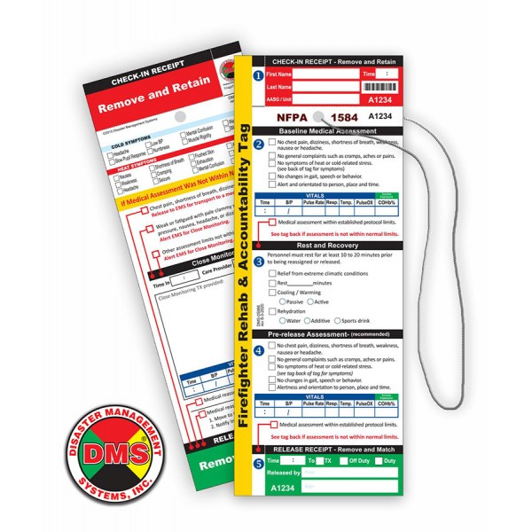 NFPA 1584 Firefighter REHAB Tag