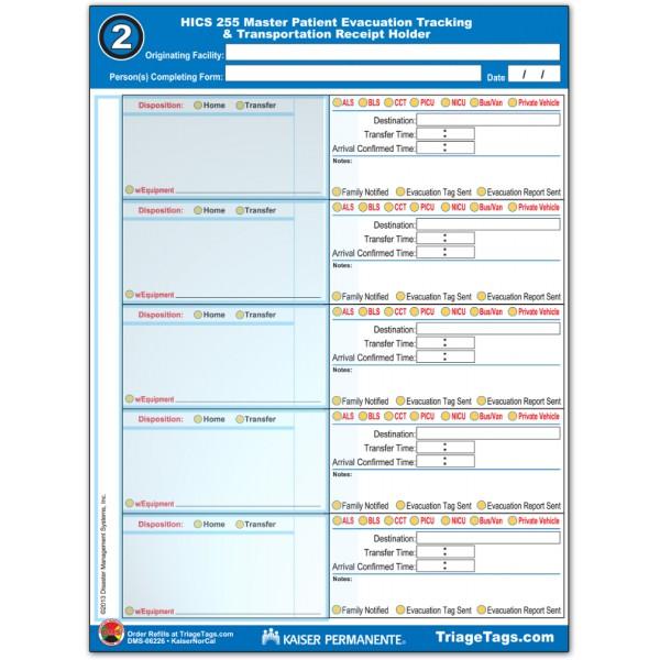 Evac123®  Transportation Step 2 Receipt Holder Refill Pack - KP Version