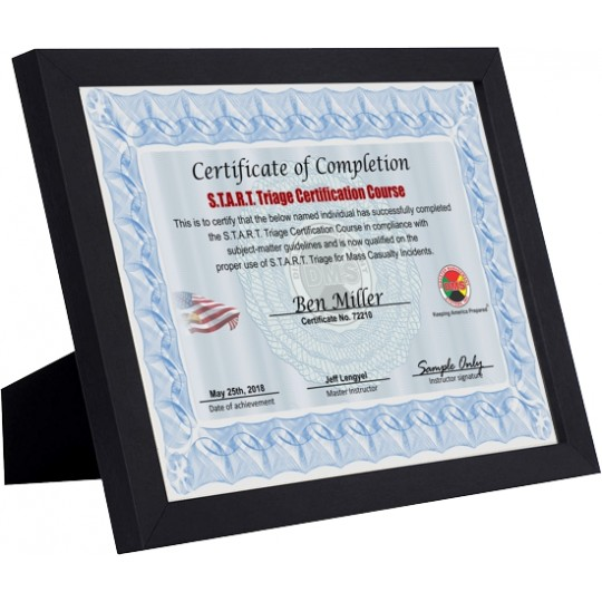 START Triage Certified Framed Parchment Certificate
