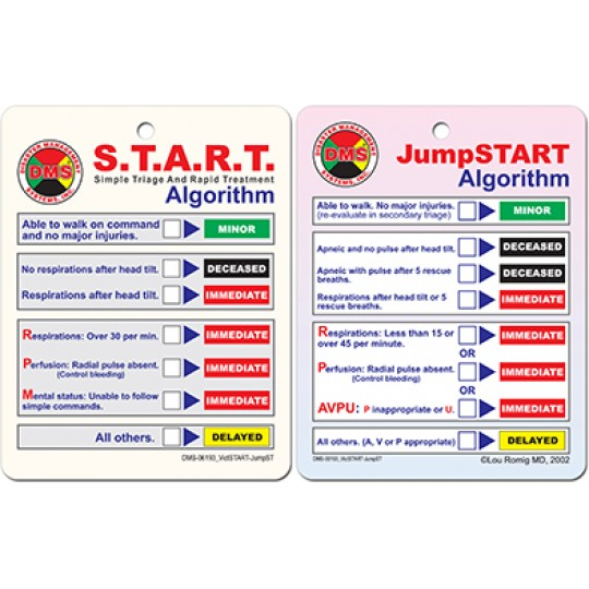START/JumpSTART Large Algorithm Cards