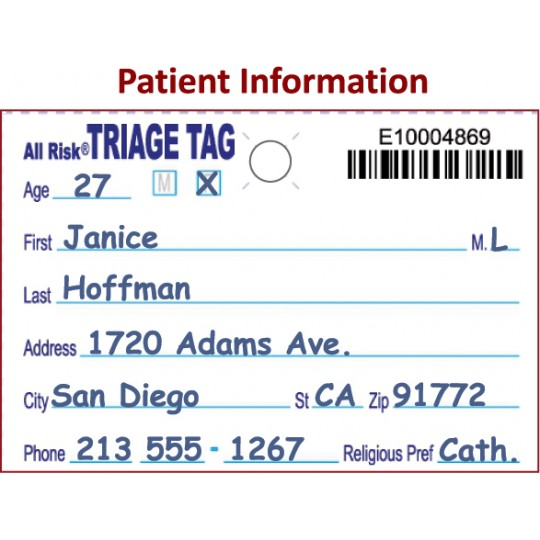 All Risk® Triage Tags with Patient Wristband