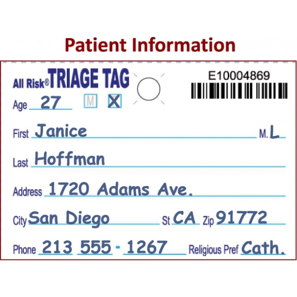 All Risk® Triage Tags w/ Patient Wristband - Pk of 50