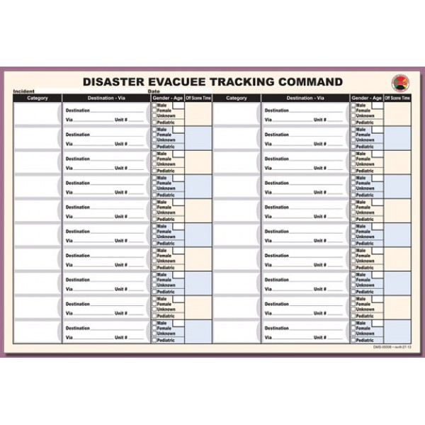 Disaster Evacuee Tracking Command Sheet Refill Pad