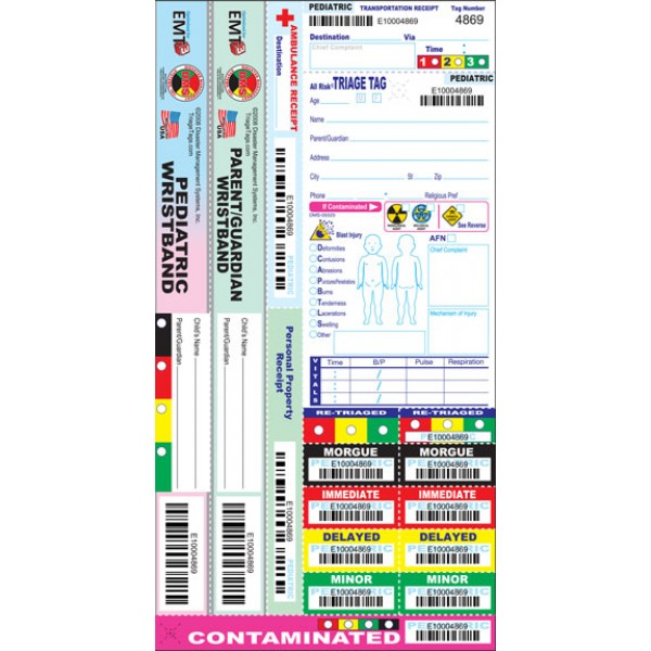 Dual Wristband Pediatric Triage Tags - Pack of 50*
