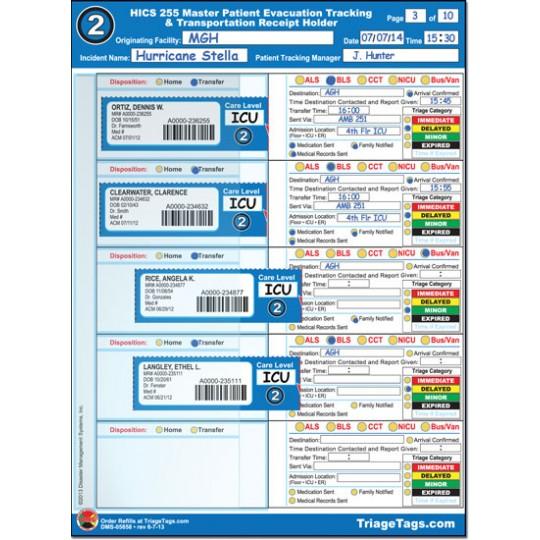 Evac123® HICS 255 Transportation Step 2 Receipt Holder Refill Pack
