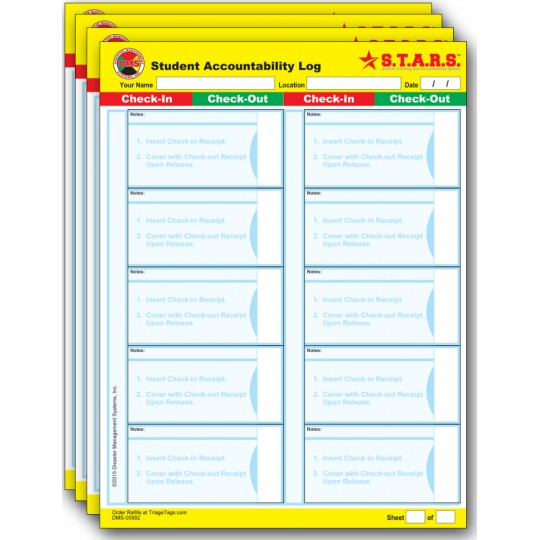 Student Accountability Log Refill Pack for S.T.A.R.S.